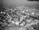 Aerial view of downtown Atlanta, looking north from the intersection of Capitol Avenue and...
