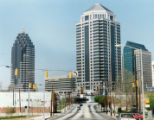 Skyline shot of Midtown showing, left to right, the Promenade and 1100 Peachtree Tower, Atlanta,...