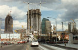 Changing face of Midtown's skyline, looking north on Peachtree Street at its intersection with...