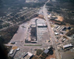 Aerial view of a shopping mall and its surrounding parking lot, Atlanta, Georgia, December 21,...