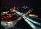 Night view, aerial photo of the Heart of Atlanta Motel, the Genuine Parts Company, and the...