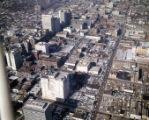 Aerial view of downtown, looking northwest, showing large areas covered in parking lots, Atlanta,...
