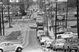 Traffic congestion on 14th Street near the Downtown Connector, Atlanta, Georgia, February 2, 1982.