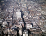 Aerial view of downtown, looking north, showing large areas covered in parking lots, Atlanta,...