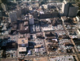 Aerial view of downtown, looking west, showing large areas covered in parking lots, Atlanta,...