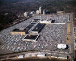 Aerial view of Lenox Square, surrounded by parking lots, looking north, with Lenox Road on the...