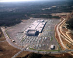 Aerial view of Greenbriar Center (later, Greenbriar Mall) and its surrounding parking lot, looking...