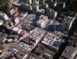 Aerial view of downtown, looking northeast, showing large areas covered in parking lots, Atlanta,...