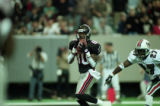 Atlanta Falcon, Tony Martin, playing against the Miami Dolphins during the Super Bowl playoffs,...