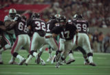 Atlanta Falcons playing against the Miami Dolphins during the Super Bowl playoffs, Georgia Dome,...
