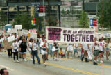 Gay / straight alliance marches in the 25th annual Gay Pride Parade, Peachtree Street, Atlanta,...