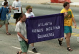 Quakers marching north on Peachtree Street at the 25th annual Gay Pride Parade, Atlanta, Georgia,...