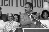 Julian Bond speaking at one of his campaign events, with Rosa Parks in the background, Atlanta,...