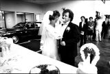Wedding for Sam Saunders and Cheryl Dobbs in the car sales building where they met, Georgia, June...
