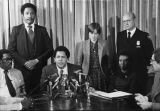 Maynard Jackson's press conference, announcing the agreement to end firefighters' discrimination...