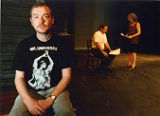 "Playwright Jim Grimsley, wearing ""Mr. Universe"" T-shirt, 7 Stages Theatre, Atlanta,..."