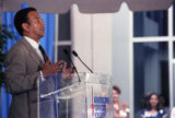 Atlanta Mayor Andrew Young, speaking at the dedication ceremony for the American Cancer Society's...