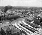 Looking northeast towards the construction of Grady Memorial Hospitol and Cabbagetown, taken from...
