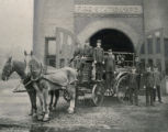 Firemen on horse-drawn fire-truck, Atlanta Station No. 3, Atlanta, Georgia, 1907.