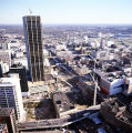 Aerial view of the Five Points MARTA station under construction, looking southeast towards the...