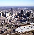 Aerial view of downtown Atlanta, Georgia, looking east towards Peachtree Street skyscrapers,...