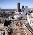 Aerial view of the Georgia State MARTA station under construction, Georgia, November 12, 1977.