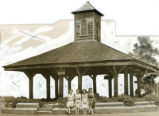 Print of rebuilt Market House, Louisville, Georgia, has been heavily retouched and cropped,...