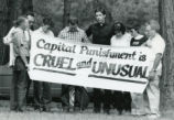 Capital punishment protestors at Jerome Bowden's execution site, Jackson, Georgia, 1986.