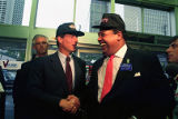 Democratic vice-presidential candidate Al Gore with Mayor Maynard Jackson at the Varsity, Atlanta,...