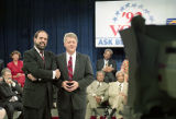Presidential candidate Bill Clinton appearing on WSB-TV during his first presidential campaign,...