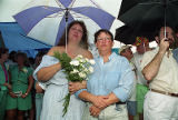Partners Sandra Riley and Cheryl Summerville at a gay-lesbian commitment ceremony, Piedmont Park,...