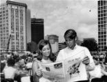 "Students read ""The Signal,"" Georgia State College's newspaper, Atlanta, Georgia,..."