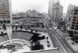 Woodruff Park during a major renovation, looking south down Peachtree Street, Atlanta, Georgia,...