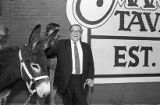 Democrat Manuel Maloof with donkey, outside Manuel's Tavern, part of Maloof's re-election campaign...