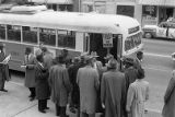 African American men preparing to board a segregated bus in an act of civil disobedience, Atlanta,...