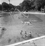 Swimmers enjoying the newly integrated Lake Meer, Piedmont Park, Atlanta, Georgia, June 12, 1963.