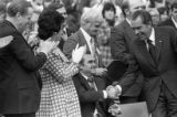 Alabama Governor George Wallace and President Richard Nixon shaking hands at a Honor America Day...