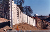 Sound barriers under construction along Georgia 400, Atlanta, Georgia, November 11, 1991.