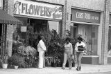 Flowers by Sassy Marve and Charis Books storefronts, Little Five Points, Atlanta, Georgia,...
