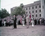 President Dwight D. Eisenhower and General Mark W. Clark, the Citadel, Charleston, South Carolina,...