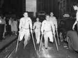 "Injured soldiers on Peachtree Street celebrating V-J Day (""Victory over Japan Day""),..."