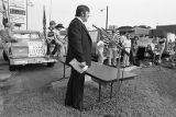 Speaker during a Union Auto Workers protest against imported cars, Hapeville, Georgia, August 30,...