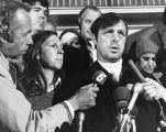 Atlanta Journal-Constitution editor Reg Murphy speaking to the press about his recent kidnapping,...