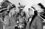 Sidney H. Ruskin (left) and Chief Sugar Brown and his son Gary, of the Otoe Indian tribe. The...
