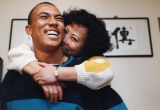 Quarterback Hines Ward with his mother, Forest Park, Georgia, October 27, 1993.