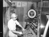 Control board of concrete mixer plant, Allatoona hydroelectric dam, Bartow County, Georgia, May...