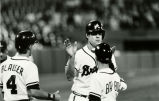 Atlanta Braves Dale Murphy is congratulated by bat boy after his home run (376) to become the...