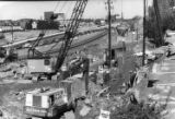 Wall construction near I-85 as part of an underpass, North Druid Hills Road, Atlanta, Georgia,...