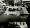 Police car with smashed rear window after a riot on Capitol Avenue, Atlanta, Georgia, September 7,...