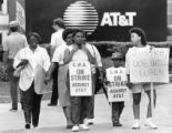 Communications Workers of America members picketing during a strike against AT&T, Atlanta,...